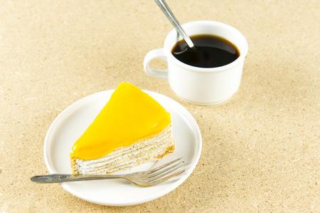 Orange Cake and coffee Stock Photo