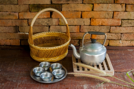 potation: still life Of tea Of tea in the countryside or ancient
