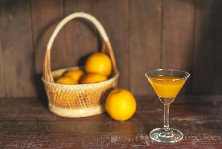 still life with drinking fresh orange juice Stock Photo