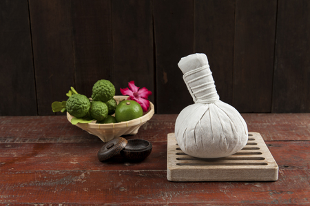 still life with herbal compress ball
