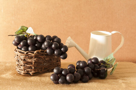 Red grapes in basket Stock Photo