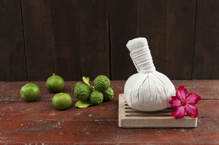 herbal compress ball with limes photo