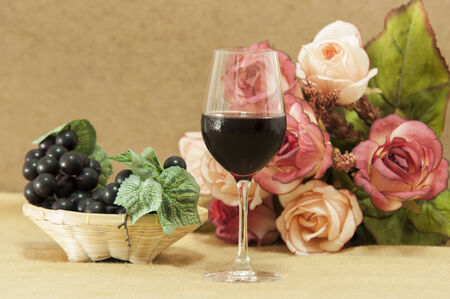 wine with grapes and flowers