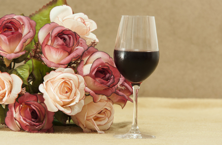 wine with flowers Stock Photo