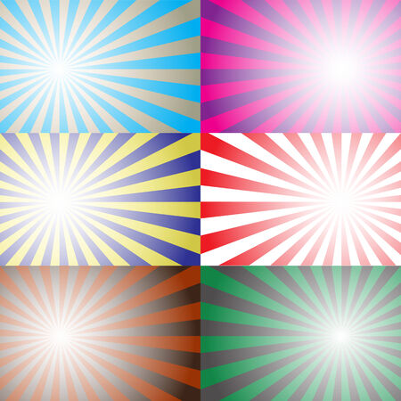Sun Sunburst Pattern background set Illustration