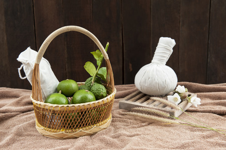 still life with herbal compress ball photo