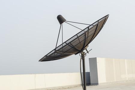 Satellite dish antenna on the roof