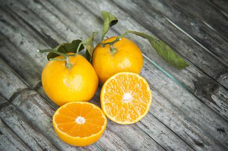 orange on the woods background Stock Photo