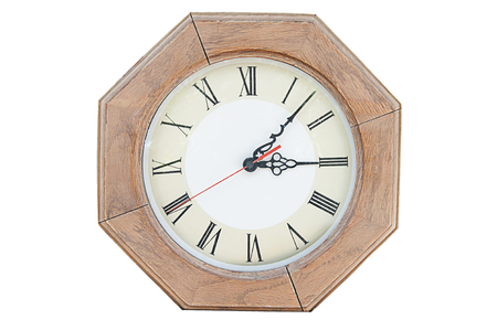 Wooden clock on a white background.