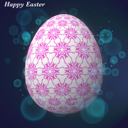 Happy easter - Happy easter, artfully designed, abstract and colorful easter eggs, 3d illustration on background with bokeh and light leaks Stok Fotoğraf