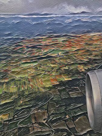 View from a plane onto fields and mountains, illustrated and artistic picture in the style of a painted canvas Zdjęcie Seryjne
