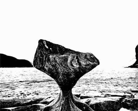 Artfully and ornate image of the place of interest Kannensteinen in Norway in black and white color optics