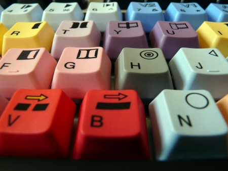 editing: special keyboard for video editor software Stock Photo