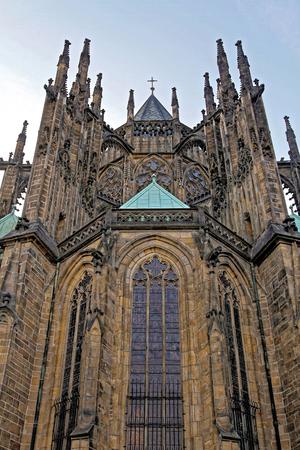 Exterior of the Gothic Ct Vitus Cathedral, Prague Stock fotó