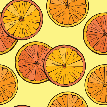 Vector Orange fruit slices background   Seamless Pattern Vector