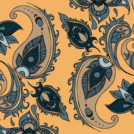 Paisley ornament Vector  illustration on beige with bleu elements Illustration