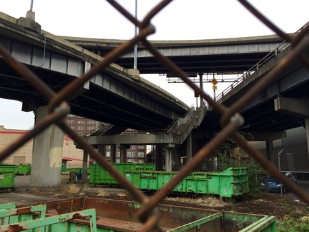 industrial wasteland: Industrial wasteland under the overpass