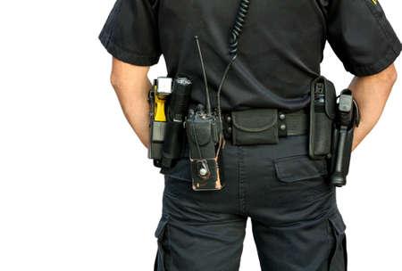 holster: Police Officer wearing gun belt isolated on white Stock Photo