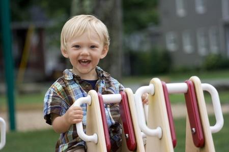 a boy having fun at the park