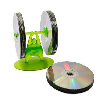 weight lifter: Picture of a plastic CD shelves which look like a weight lifter. Stock Photo