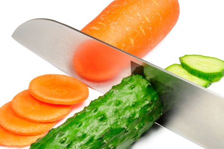 picture of isolated carrot and cucumber photo