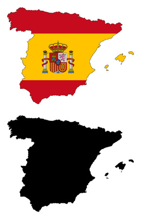 vector map and flag of Spain. Иллюстрация