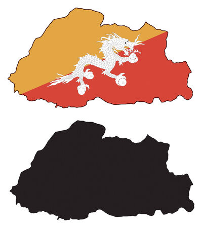 vector map and flage of Bhutan. Vector