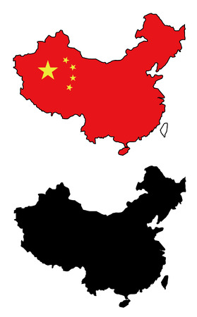 flag of china: vector precise map and flag of china
