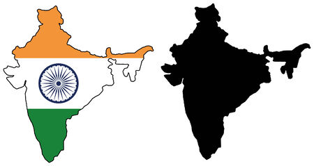 vector map and flag of India