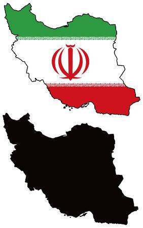 iran: vector map and flag of iran Illustration