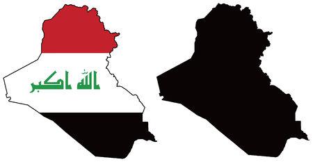 Mapa del vector y la bandera de iraq