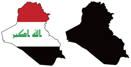 iraq flag: vector map and flag of iraq