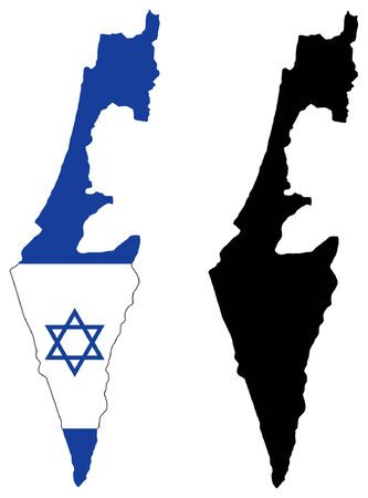 vector map and flag of israel Vector