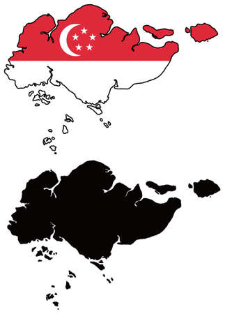 vector map and flag of singapore