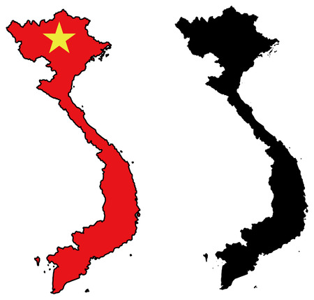vietnam: vector map and flag of vietnam