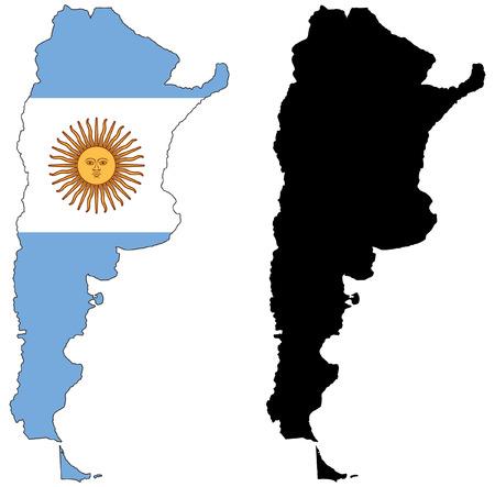 flag of argentina: Mapa de vector y la bandera de Argentina