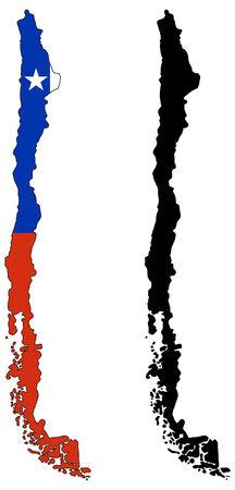 bandera de chile: Mapa de vector y la bandera de chile