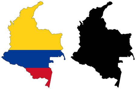 bandera de colombia: Mapa de vector y la bandera de colombia