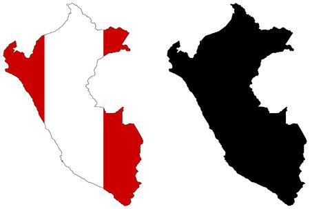 mapa del peru: Mapa del vector y la bandera del Per�