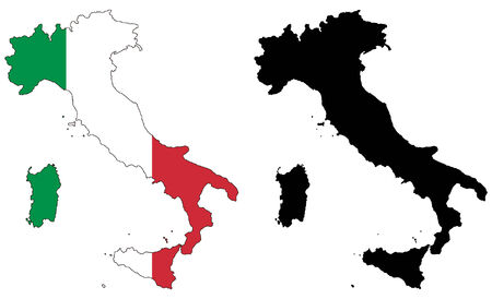 vector map and flag of italy Illustration