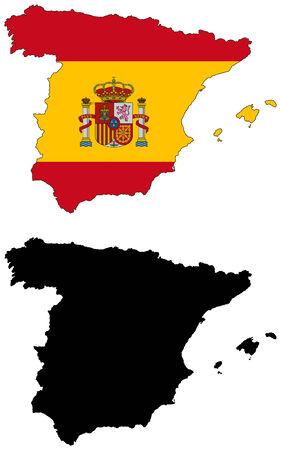 벡터지도 및 스페인의 국기 일러스트