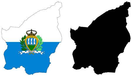 vector map and flag of san marino Vector