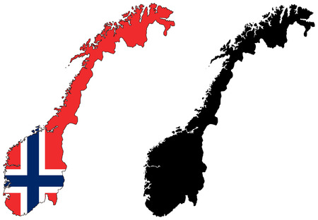 norway flag: vector map and flag of norway Illustration