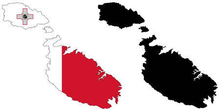 vector map and flag of malta Vector