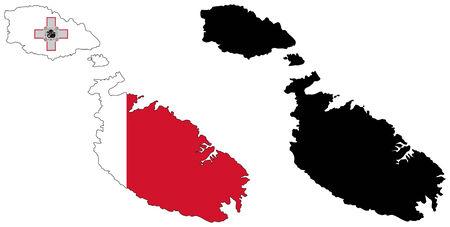 malta: vector map and flag of malta Illustration