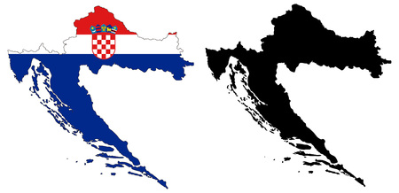 croatia: vector map and flag of croatia