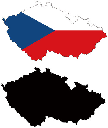 vector map and flag of czech Vector
