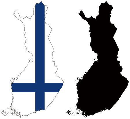 vector map and flag of finland Vector