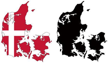 vector map and flag of denmark Vector