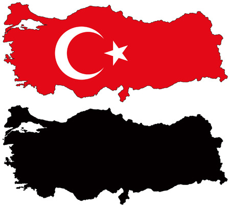 vector map and flag of turkey Vector